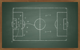 Tática do futebol no quadro-negro Fotos de Stock
