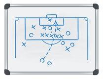 Tática do futebol no whiteboard Fotografia de Stock