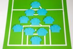 Táticas da formação do futebol do origâmi Fotografia de Stock