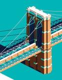 Táxi amarelo na ponte de Brooklyn isométrica Imagens de Stock Royalty Free