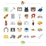 Táxi, animal, recompensa, crime e o outro ícone da Web no estilo dos desenhos animados álcool, educação, ícones da limpeza na col ilustração royalty free
