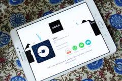 Táxi app de Uber fotografia de stock