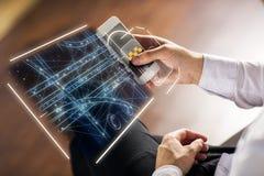 Táxi app e conceito futuro fotografia de stock royalty free