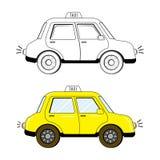 Táxi bonito preto e branco e colorido do estilo dos desenhos animados Foto de Stock Royalty Free