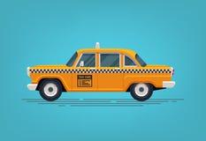 Táxi de táxi amarelo retro Ícone clássico do táxi Ilustração lisa do estilo do vetor Fotos de Stock Royalty Free
