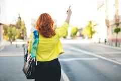 Táxi de saudação da mulher de negócios fotografia de stock royalty free