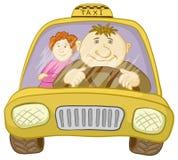 Táxi do carro com excitador e passageiro ilustração royalty free