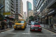 Táxi em ruas de Hong Kong Imagem de Stock Royalty Free