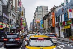 Táxi taiwanês em um engarrafamento Fotos de Stock Royalty Free