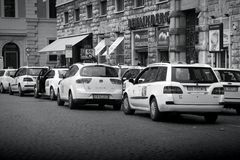 Táxis em Roma, Itália Imagem de Stock