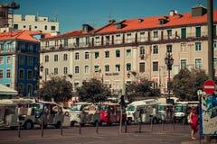 Táxis rodados triplos no quadrado de Figueira fotografia de stock