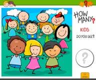 Tâche éducative de bande dessinée de combien d'enfants illustration stock