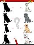 Tâche préscolaire d'ombre avec des chiens illustration de vecteur