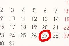 Tâmara circundada em um calendário. Imagens de Stock