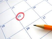 Tâmara circundada em um calendário. Fotos de Stock Royalty Free