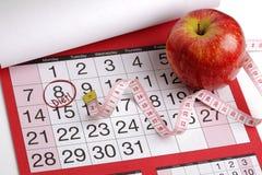 Tâmara de calendário para começar uma dieta Fotografia de Stock Royalty Free