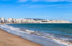 Tânger e porto, paisagem litoral, Marrocos fotografia de stock