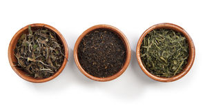 Tè verde, tè nero, tè bianco 库存照片
