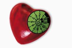 TÃœVsticker op hartvorm, close-up Stock Foto