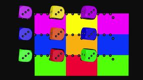 Tęcza koloru kostki do gry Zapętlają chodzenie, 3D Odpłaca się 4K ilustracja wektor
