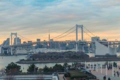 Tęcza most w wieczór czasie obrazy royalty free
