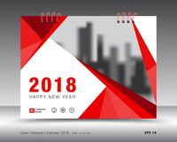 Täcka den kalender2018 mallen, röd reklamblad för räkningsaffärsbroschyr Fotografering för Bildbyråer