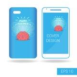 Täcka den mobila smartphonen med rolig mänsklig hjärn- och elkraftblixt i tecknad filmstil på vit bakgrund Royaltyfria Foton