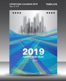 Täcka mallen för designen för skrivbordkalender 2019, reklambladmallen, annonser, häftet, katalogen, informationsbladet, bokorien vektor illustrationer