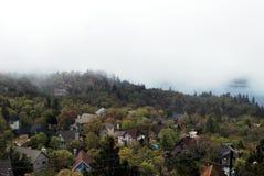 Täckande bergsjö för dimma och en by royaltyfri bild