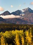 Täckt hög snö når en höjdpunkt Chugach bergskedja Alaska Royaltyfria Foton