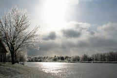 Is-täckt landskap längs den storslagna floden Royaltyfria Bilder