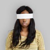 Täckt okontrollerat förbjudit borttappat begrepp för kvinna öga royaltyfria bilder