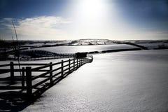 Täckt Snow landskap Arkivfoton