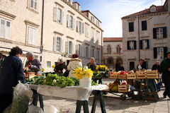 Täglich, Morgenmarkt in Dubrovnik, Kroatien stockfotografie