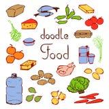 Tägliche Nahrung der gesetzten verschiedenen Produkte Stockfoto