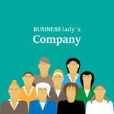 Tägliche standup Sitzung mit Projektteam und Manager Flache Illustration Frauenfirma Stockfotografie
