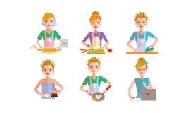 Täglicher Programmsatz der Frau, Mädchen in Alltagslebenvektor Illustration auf einem weißen Hintergrund vektor abbildung