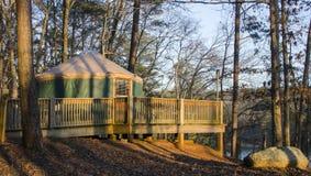 Tält campa Yurt, bergdelstatspark för röd överkant, Georgia, USA Arkivfoton