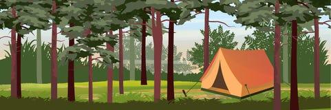 Tält för turism i pinjeskogen royaltyfri illustrationer