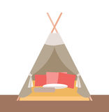Tält-förlägga i barack för lekar för barn` s Royaltyfria Bilder