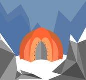Tält i bergen stock illustrationer