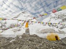 Tält i den Everest basläger, Nepal. Fotografering för Bildbyråer
