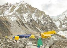 Tält i den Everest basläger, Nepal. Royaltyfri Fotografi