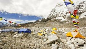 Tält i den Everest basläger, Nepal. Royaltyfri Foto
