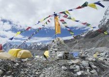 Tält i den Everest basläger, Nepal. Arkivfoto