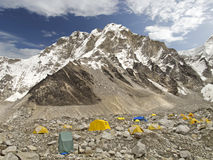 Tält i den Everest basläger, Nepal. Arkivbilder