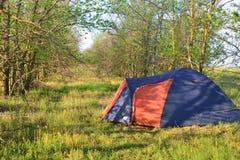 Tält i skogen i sommar Fotografering för Bildbyråer