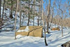 Tält i vinterskog 10 fotografering för bildbyråer