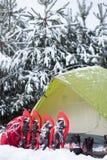 Tält i vinterskogen Royaltyfri Foto