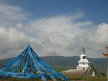 Tält och pagod för blå flagga fotografering för bildbyråer